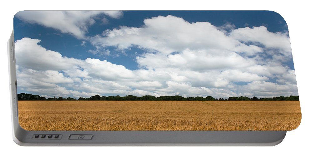 Farm Portable Battery Charger featuring the photograph Thoughts Of A Wheatfield by Barbara McMahon