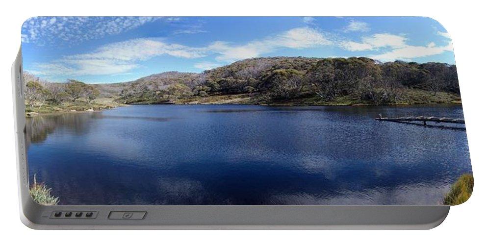 Threadbo Portable Battery Charger featuring the photograph Threadbo Lake Panorama - Australia by Ian Mcadie
