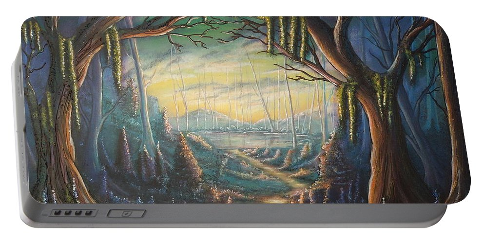 Trees Portable Battery Charger featuring the painting Three And A Half Wishes by Krystyna Spink