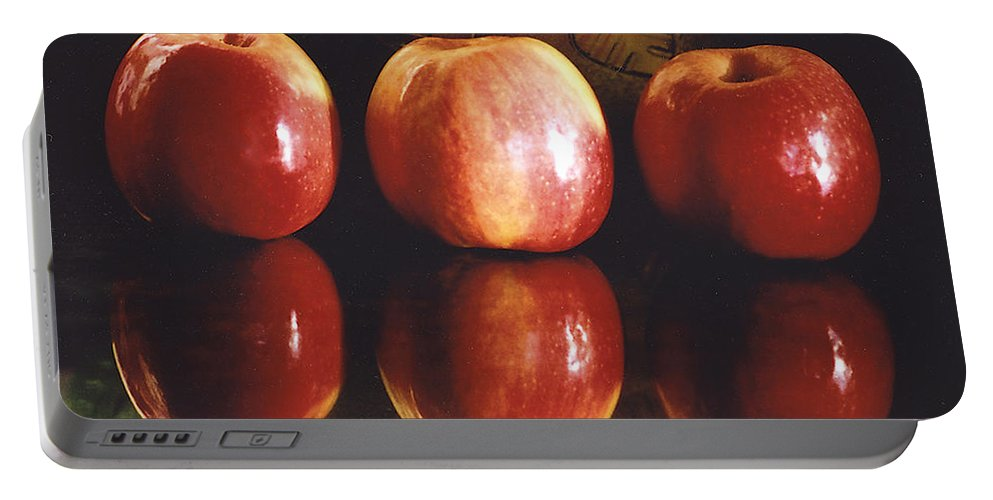 Apples Portable Battery Charger featuring the photograph Three Apples by Rebecca Renfro