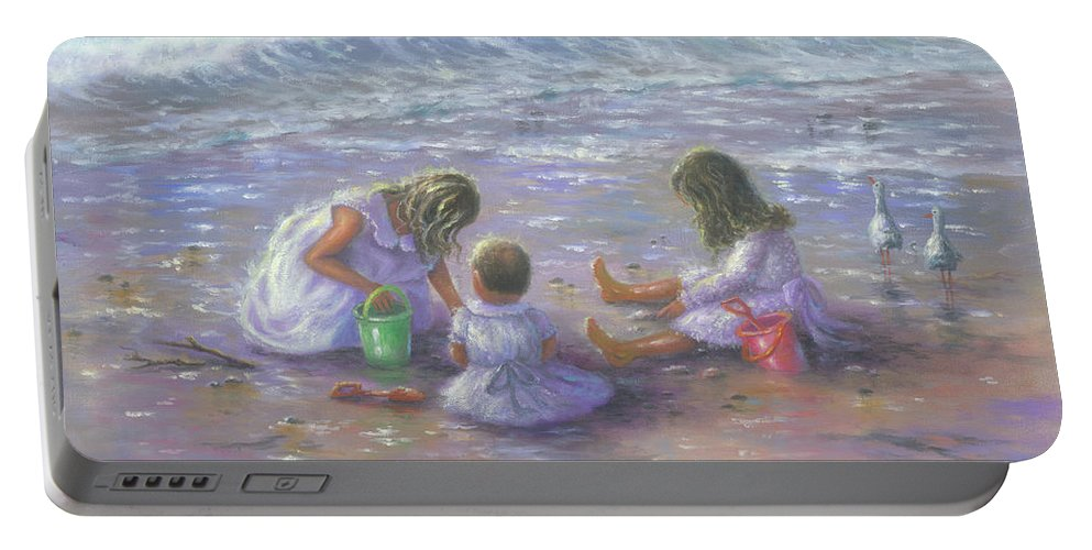 Beach Girls Portable Battery Charger featuring the painting Three Blonde Beach Girls by Vickie Wade