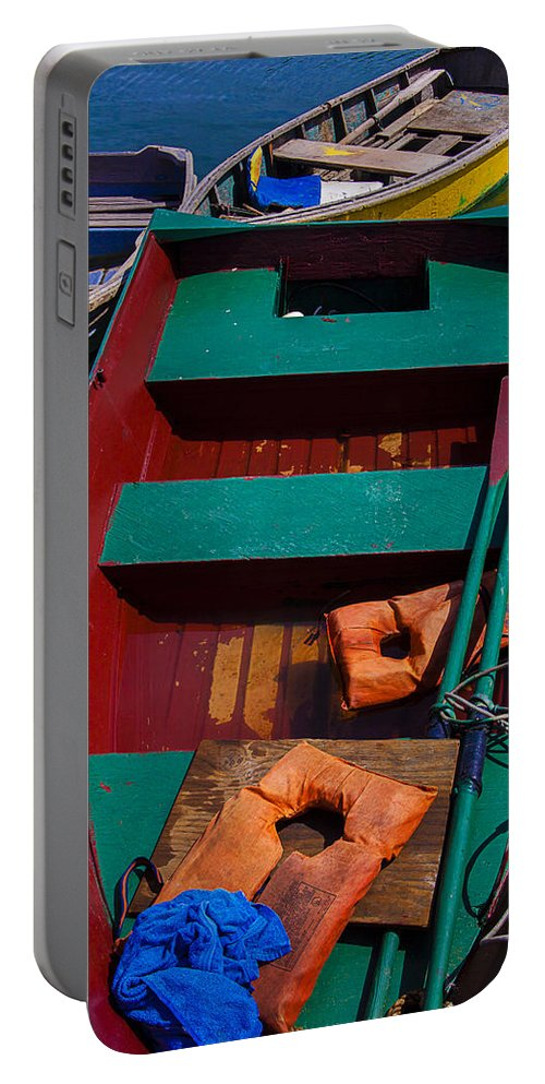 Three Portable Battery Charger featuring the photograph Three Boats by Garry Gay