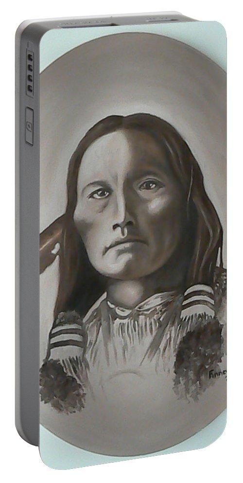 Michael Portable Battery Charger featuring the painting Three Fingers by Michael TMAD Finney