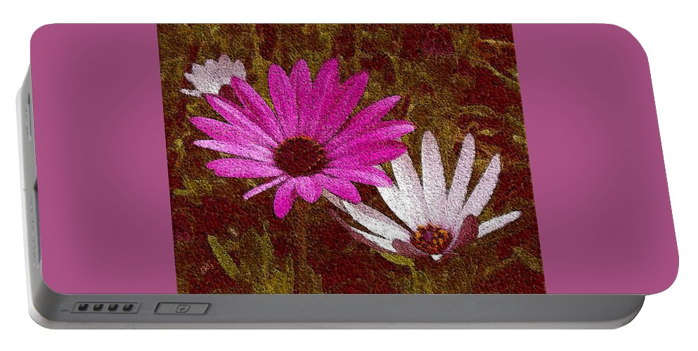 Daisies Portable Battery Charger featuring the photograph Three Flowers On Maroon by Ben and Raisa Gertsberg