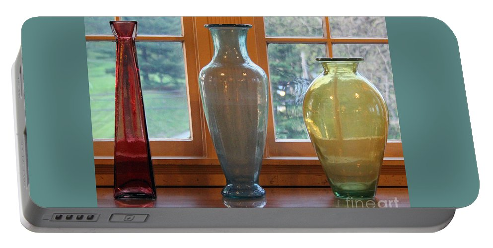 Glass Portable Battery Charger featuring the photograph Three Glass Vases In A Window by Karen Adams