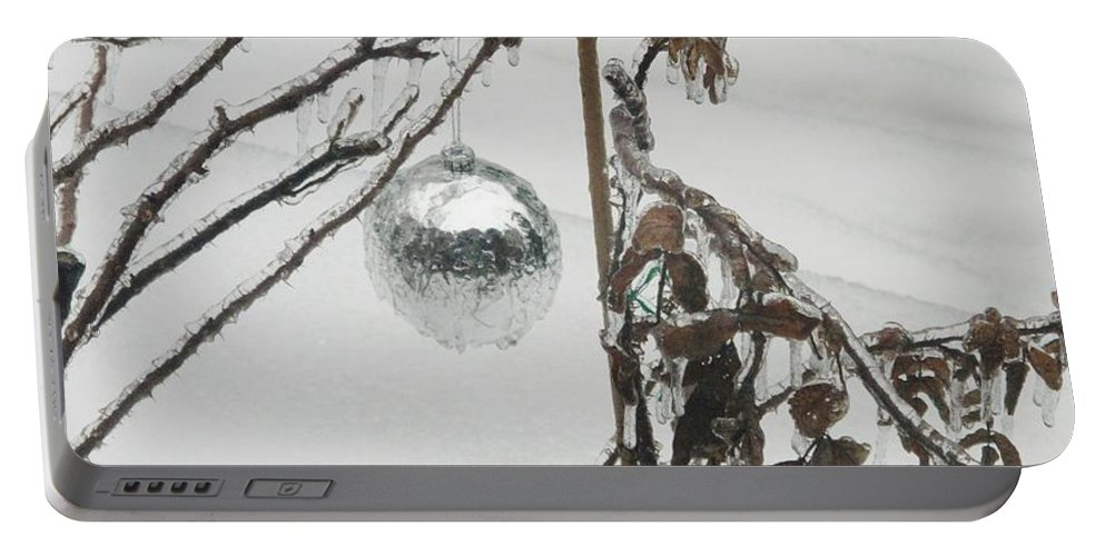 Ornaments Portable Battery Charger featuring the photograph Three Icy Bulbs by Ian MacDonald