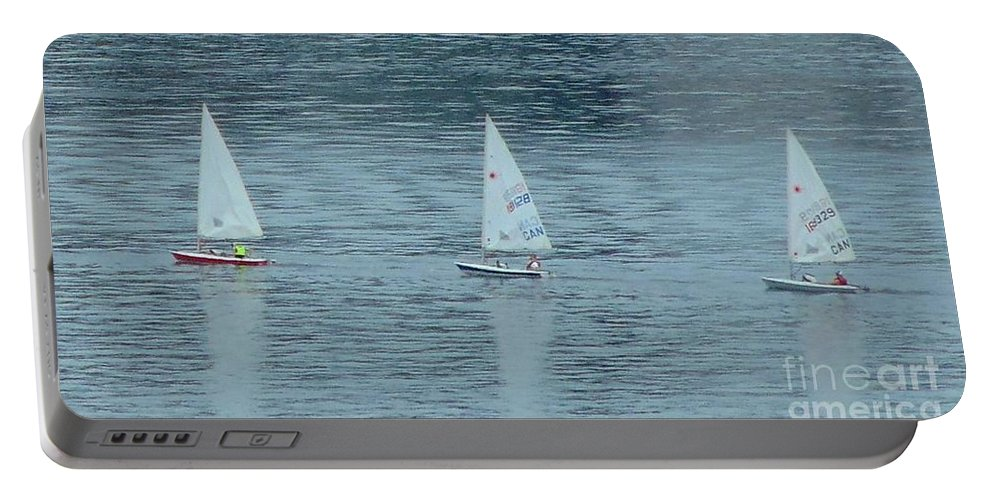 Schooners Portable Battery Charger featuring the photograph Three In A Row by John Malone