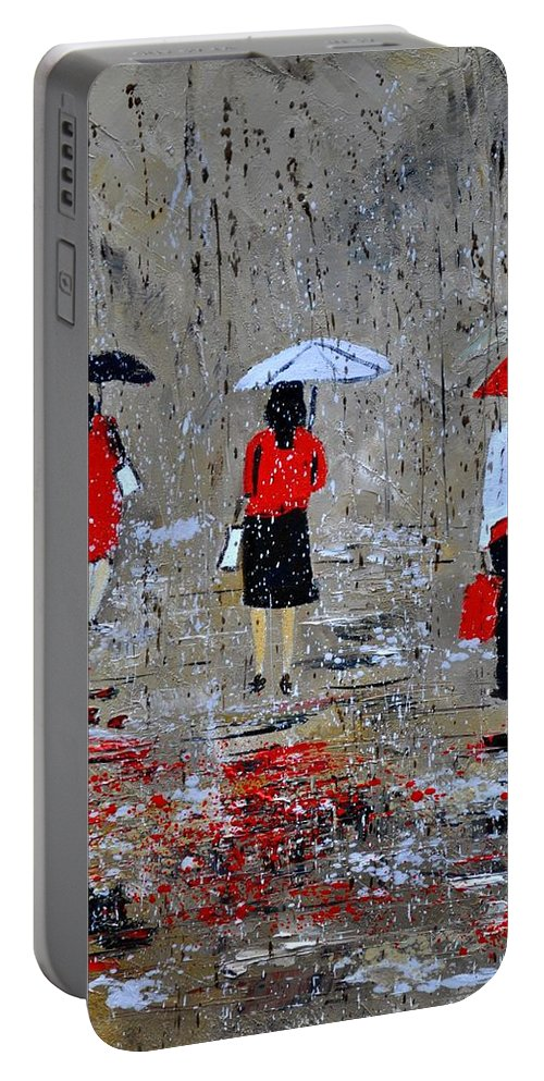 Rain Portable Battery Charger featuring the painting Three In The Rain by Pol Ledent