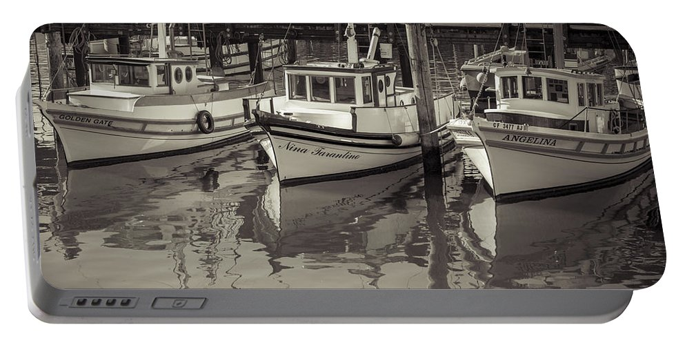 Fishing Boat Portable Battery Charger featuring the photograph Three Little Boats Sepia by Scott Campbell
