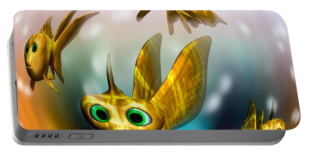 Three Little Fishies And A Mama Fishie Too Portable Battery Charger featuring the digital art Three Little Fishies And A Mama Fishie Too by Bob Orsillo