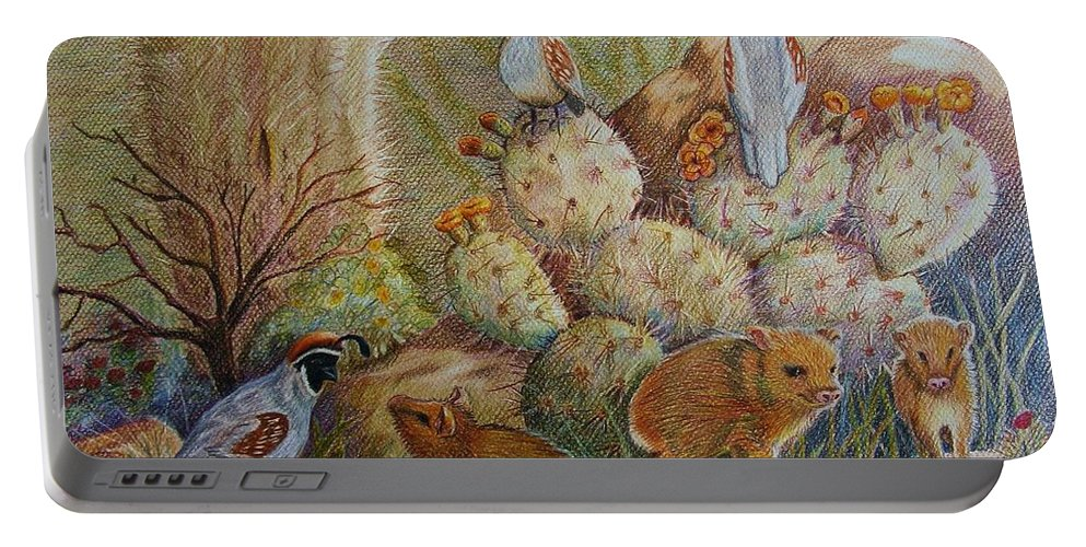 Desert Wildlife Portable Battery Charger featuring the drawing Three Little Javelinas by Marilyn Smith