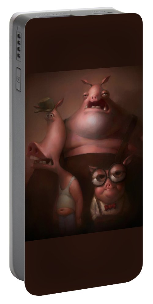 Fairytale Portable Battery Charger featuring the painting Three Little Pigs by Adam Ford