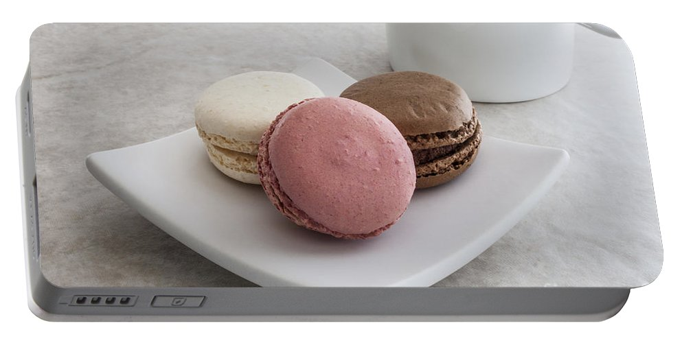 Macaroons Portable Battery Charger featuring the photograph Three Macaroons by Liz Leyden
