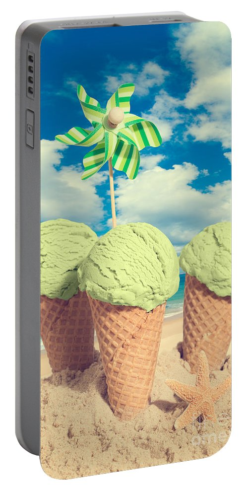 Mint Portable Battery Charger featuring the photograph Three Mint Icecreams by Amanda Elwell