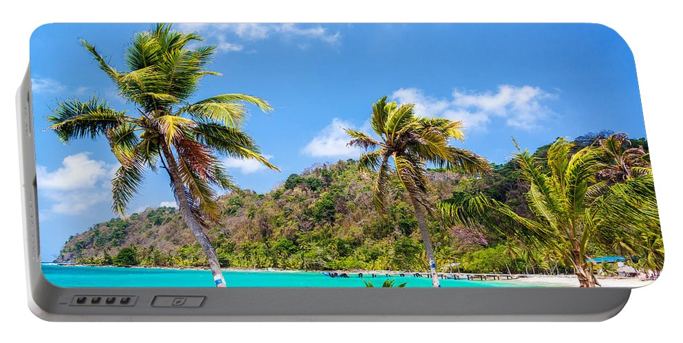 Capurgana Portable Battery Charger featuring the photograph Three Palm Trees In Panama by Jess Kraft
