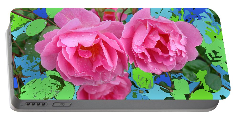 Three Portable Battery Charger featuring the photograph Three Pink Roses By M.l.d.moerings 2010 by Marion Moerings