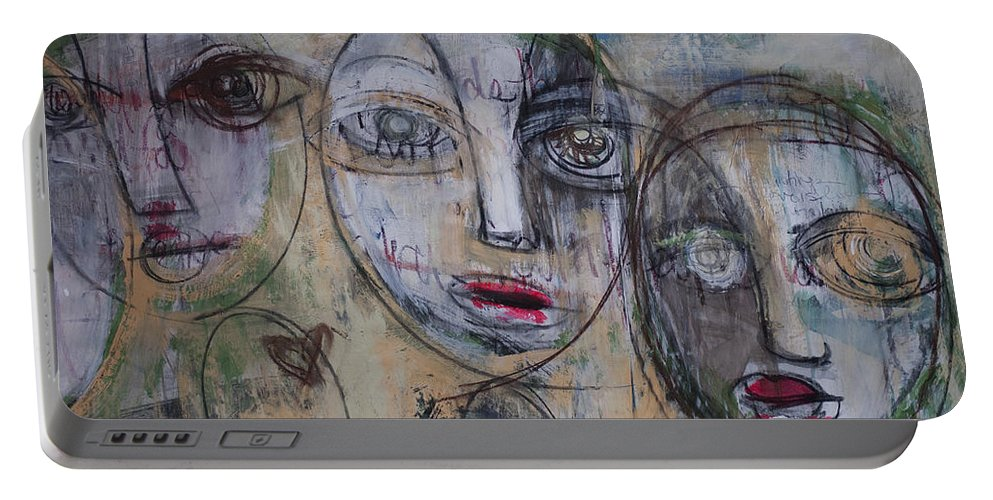 Pop Surrealism Portable Battery Charger featuring the painting Three Portraits On Paper by Laurie Maves ART