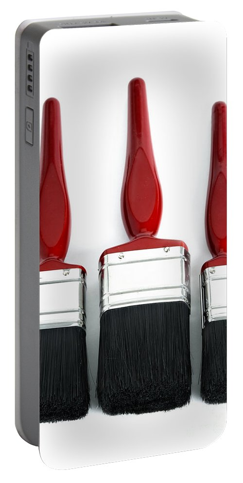 Paint Portable Battery Charger featuring the photograph Three Red Paint Brushes by Lee Avison