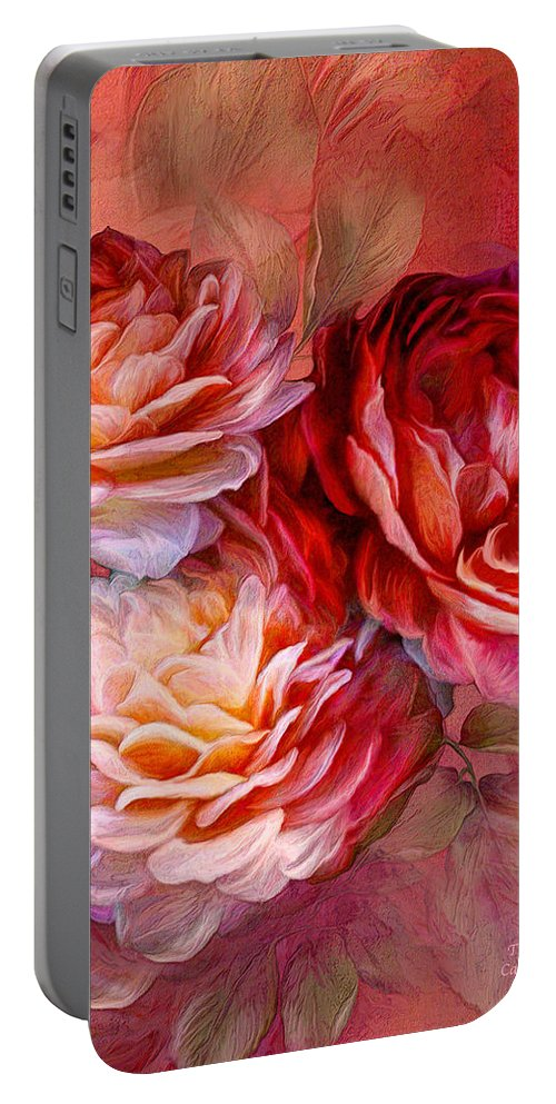 Rose Portable Battery Charger featuring the mixed media Three Roses Red Greeting Card by Carol Cavalaris
