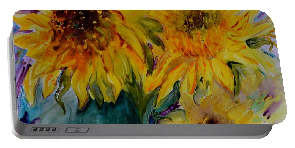 Sunflowers Portable Battery Charger featuring the painting Three Sunflowers by Beverley Harper Tinsley