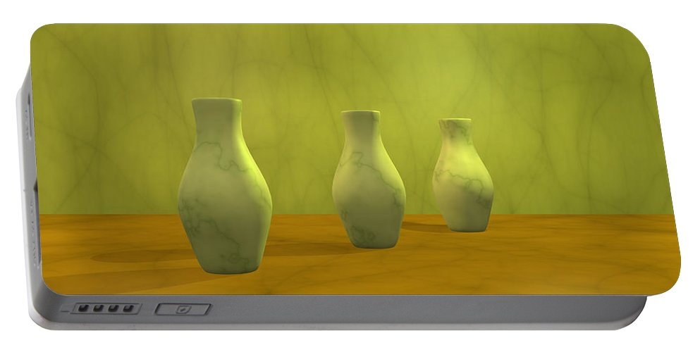 Still Life Portable Battery Charger featuring the digital art Three Vases II by Gabiw Art