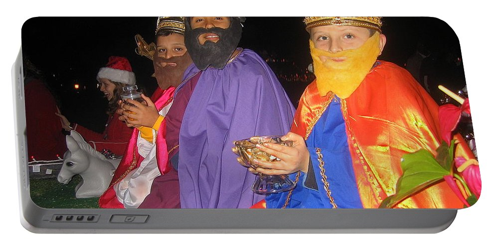 Three Wise Men On Float Christmas Parade Eloy Arizona 2005 Portable Battery Charger featuring the photograph Three Wise Men On Float Christmas Parade Eloy Arizona 2005 by David Lee Guss