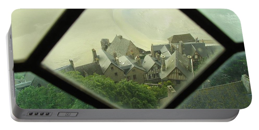 Le Mont St-michel Portable Battery Charger featuring the photograph Through A Window To The Past by Mary Ellen Mueller Legault