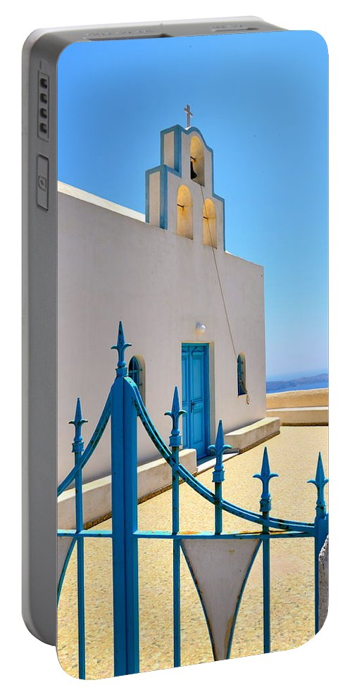 Santorini Portable Battery Charger featuring the photograph Through The Gates by Corinne Rhode