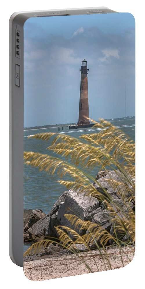 Morris Island Lighthouse Portable Battery Charger featuring the photograph Through The Sea Grass by Dale Powell