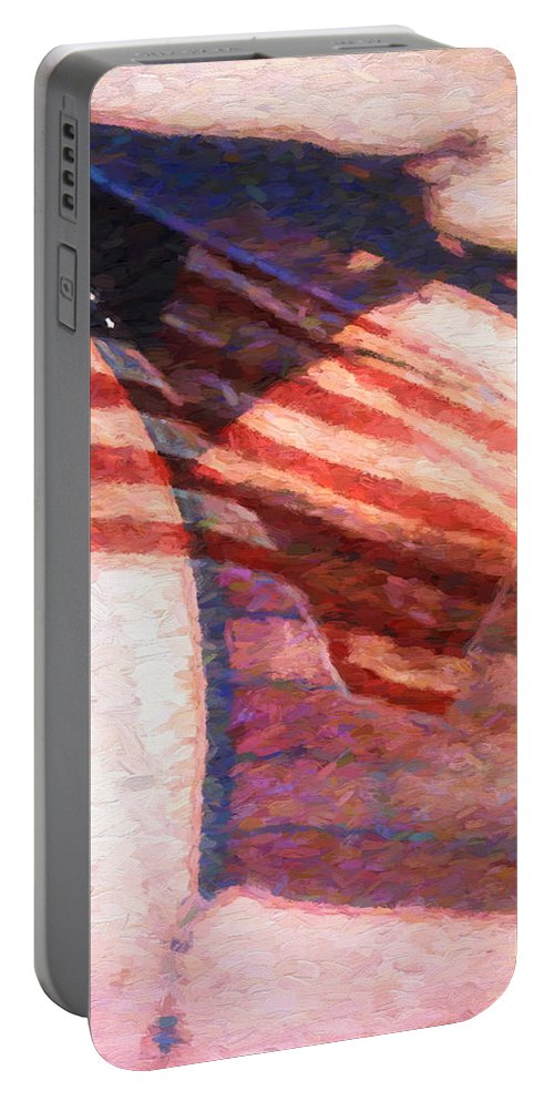 Flag Portable Battery Charger featuring the painting Through War And Peace by Bob Orsillo