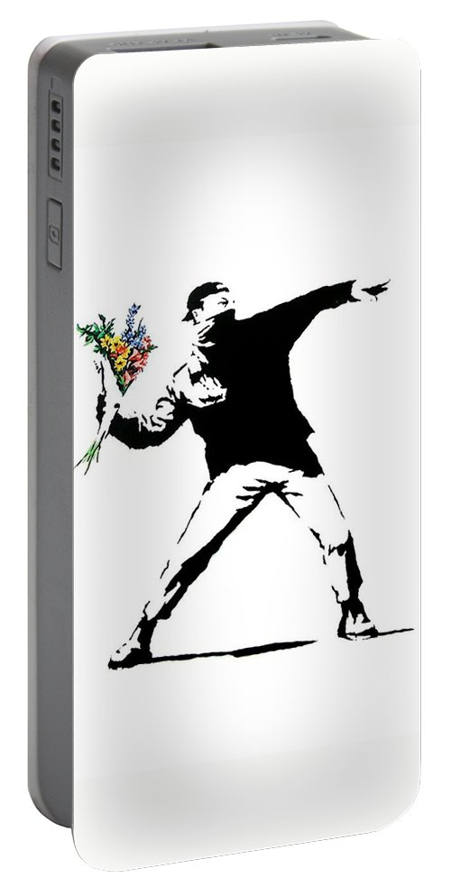 Banksy Portable Battery Charger featuring the photograph Throwing Love by Munir Alawi