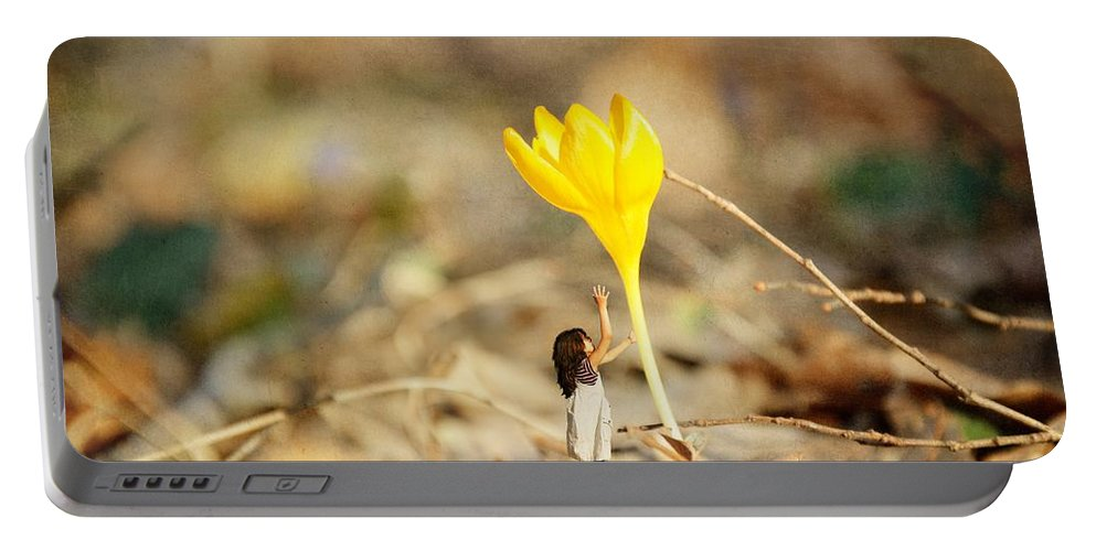 Fantasy Portable Battery Charger featuring the photograph Thumbelina And The Crocus by Sonya Kanelstrand