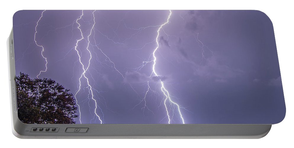Crystal Beach Portable Battery Charger featuring the photograph Thunderation by Stephen Whalen