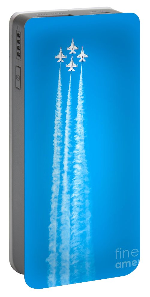 Navy Portable Battery Charger featuring the photograph Thunderbirds In Air Formation by Amel Dizdarevic
