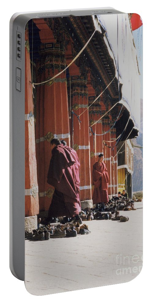 Tibet Portable Battery Charger featuring the photograph Tibetan Monks At Sera by First Star Art