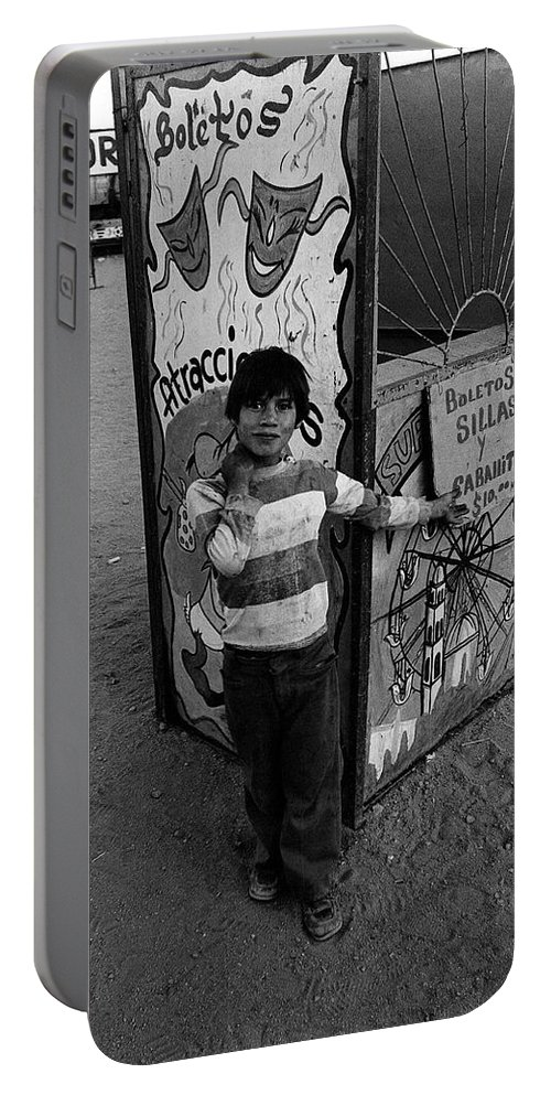 Ticket Booth Traveling Carnival Us Mexico Border Naco Sonora Mexico 1980 Portable Battery Charger featuring the photograph Ticket Booth Traveling Carnival Us Mexico Border Naco Sonora Mexico 1980 by David Lee Guss