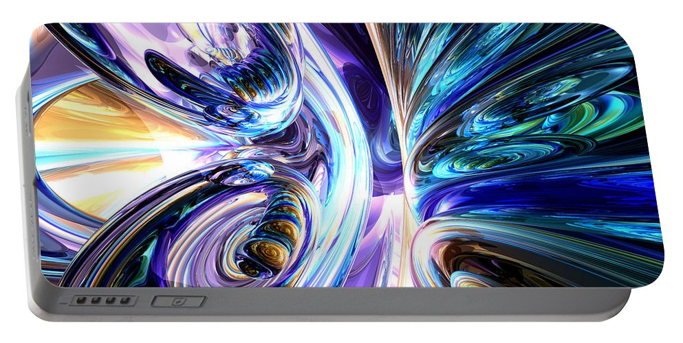 3d Portable Battery Charger featuring the digital art Tide Pool Abstract by Alexander Butler
