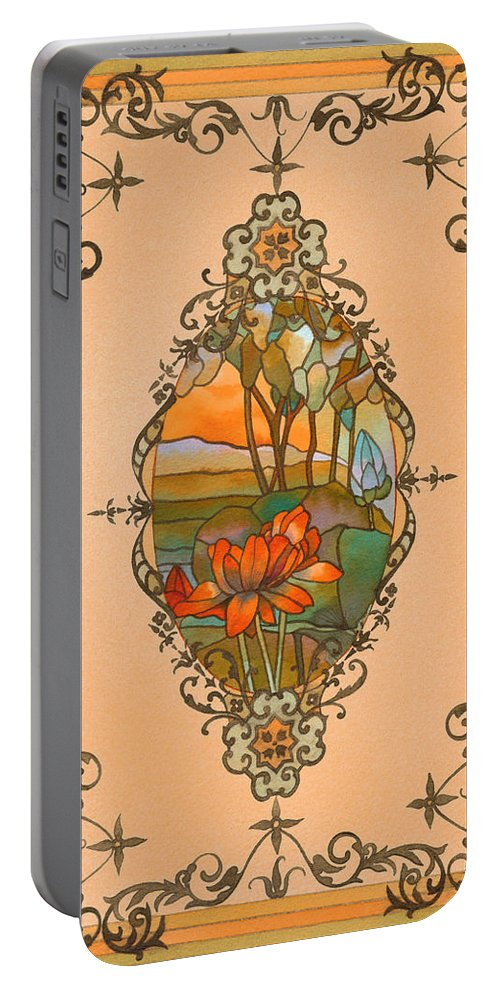 Tiffany Portable Battery Charger featuring the painting Tiffany Tree by Deborah Runham