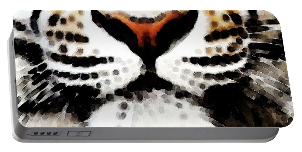 Tiger Portable Battery Charger featuring the painting Tiger Art - Burning Bright by Sharon Cummings