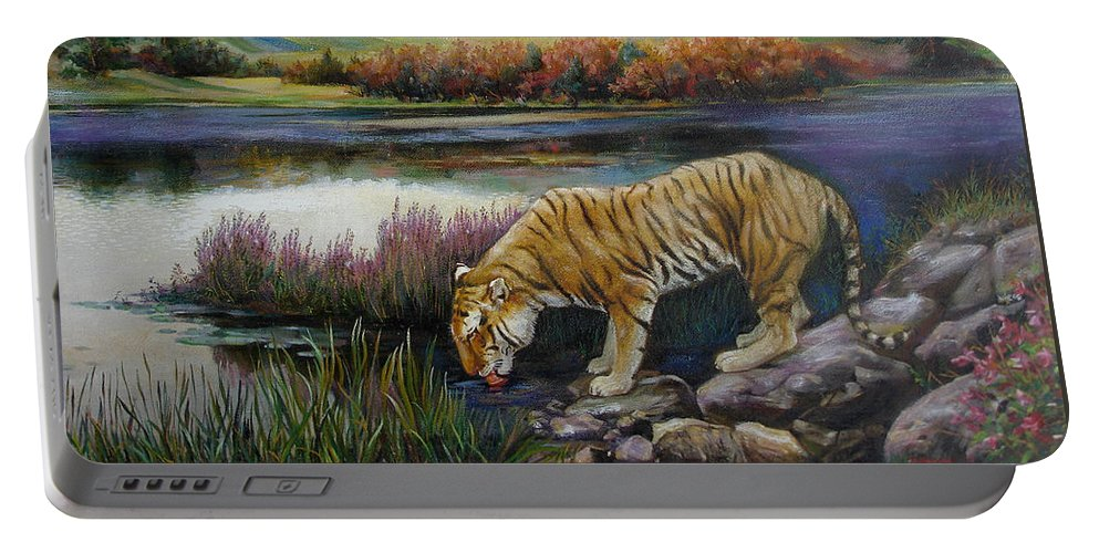 Siberian Tiger Portable Battery Charger featuring the painting Tiger By The River by Svitozar Nenyuk