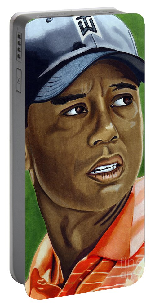 Golf Portable Battery Charger featuring the drawing Tiger by Cory Still