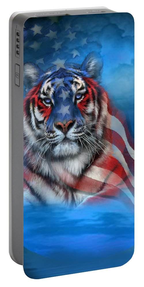 Carol Cavalaris Portable Battery Charger featuring the mixed media Tiger Flag by Carol Cavalaris