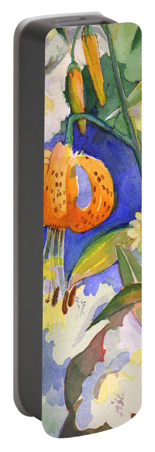 Tiger Lily Portable Battery Charger featuring the painting Tiger Lily In Dappled Light by Nancy Watson
