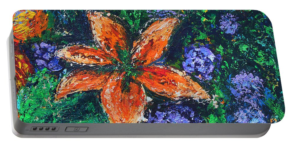 Tiger Lily Portable Battery Charger featuring the painting Tiger Lily by Kristye Addison Dudley