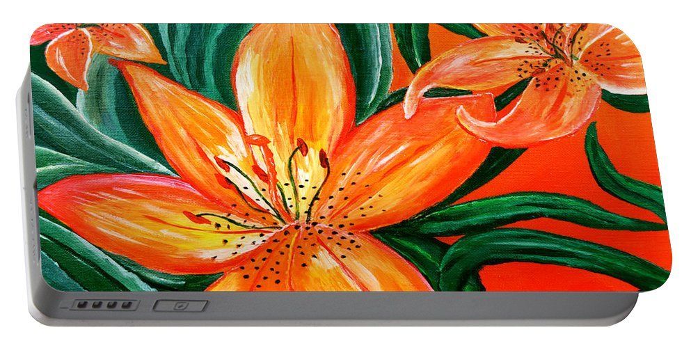 Acrylic Painting Portable Battery Charger featuring the painting Tiger Lily Trio by Sherry Allen