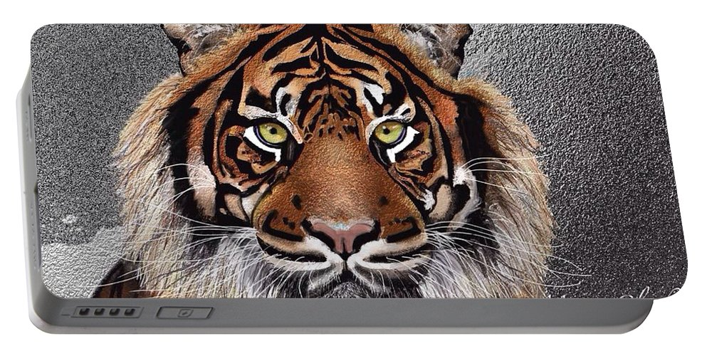Tiger Portable Battery Charger featuring the painting Tiger by Marie Clark
