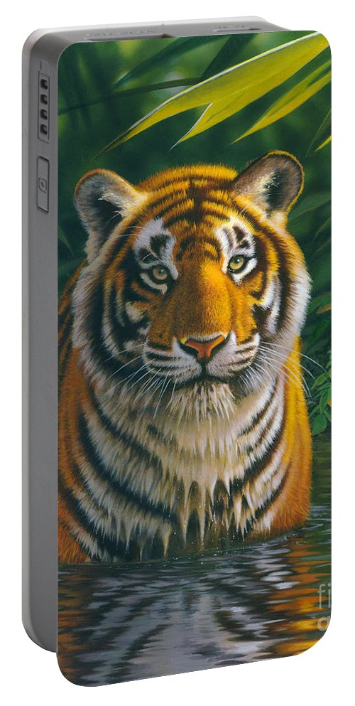 Animal Portable Battery Charger featuring the photograph Tiger Pool by MGL Meiklejohn Graphics Licensing