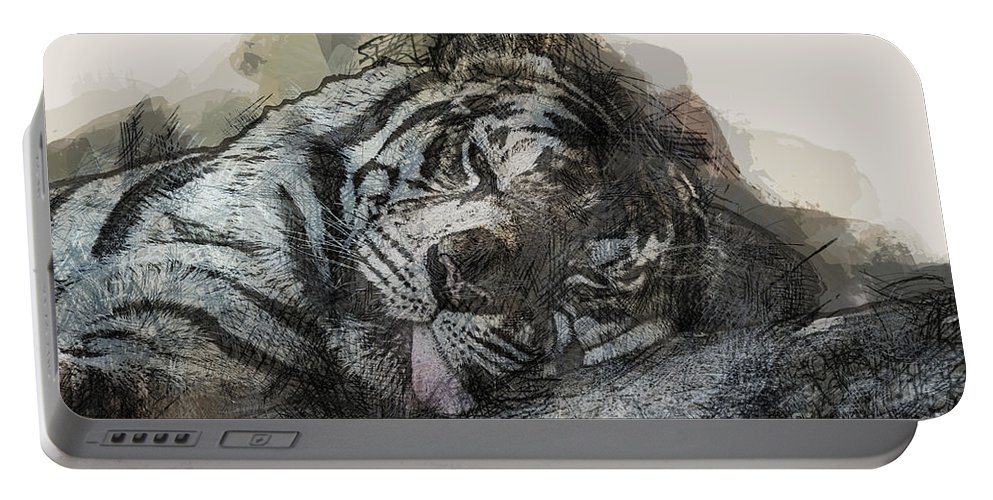 Tiger Portable Battery Charger featuring the photograph Tiger R And R by Douglas Barnard