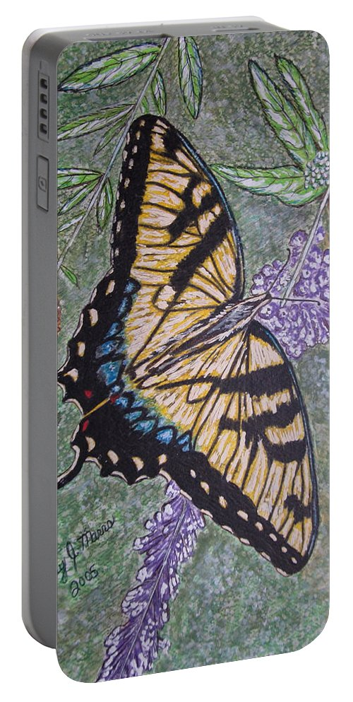 Tiger Swallowtail Butterfly Portable Battery Charger featuring the painting Tiger Swallowtail Butterfly by Kathy Marrs Chandler