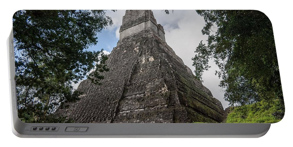 Belize Portable Battery Charger featuring the photograph Tikal Pyramid 1b by Michael Bessler